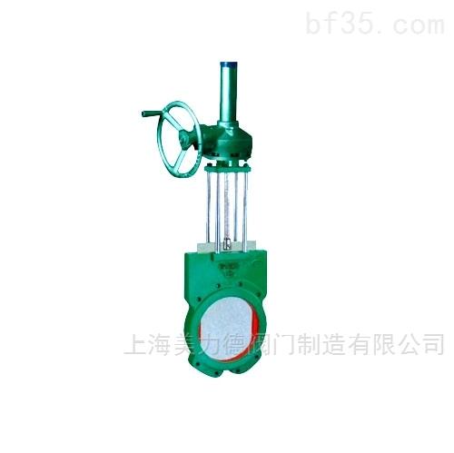 手动铸铁锥齿轮传动对夹式刀型浆液阀